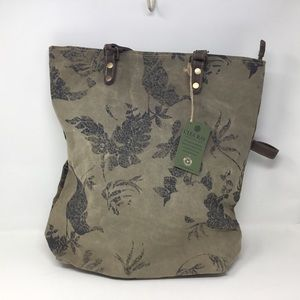 Dragonfly Tote in Repurposed Canvas by Clea Ray.